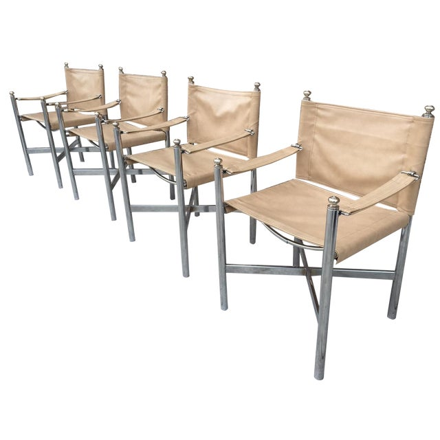 Image of Hollywood Regency Chrome & Vinyl Chairs - Set of 4