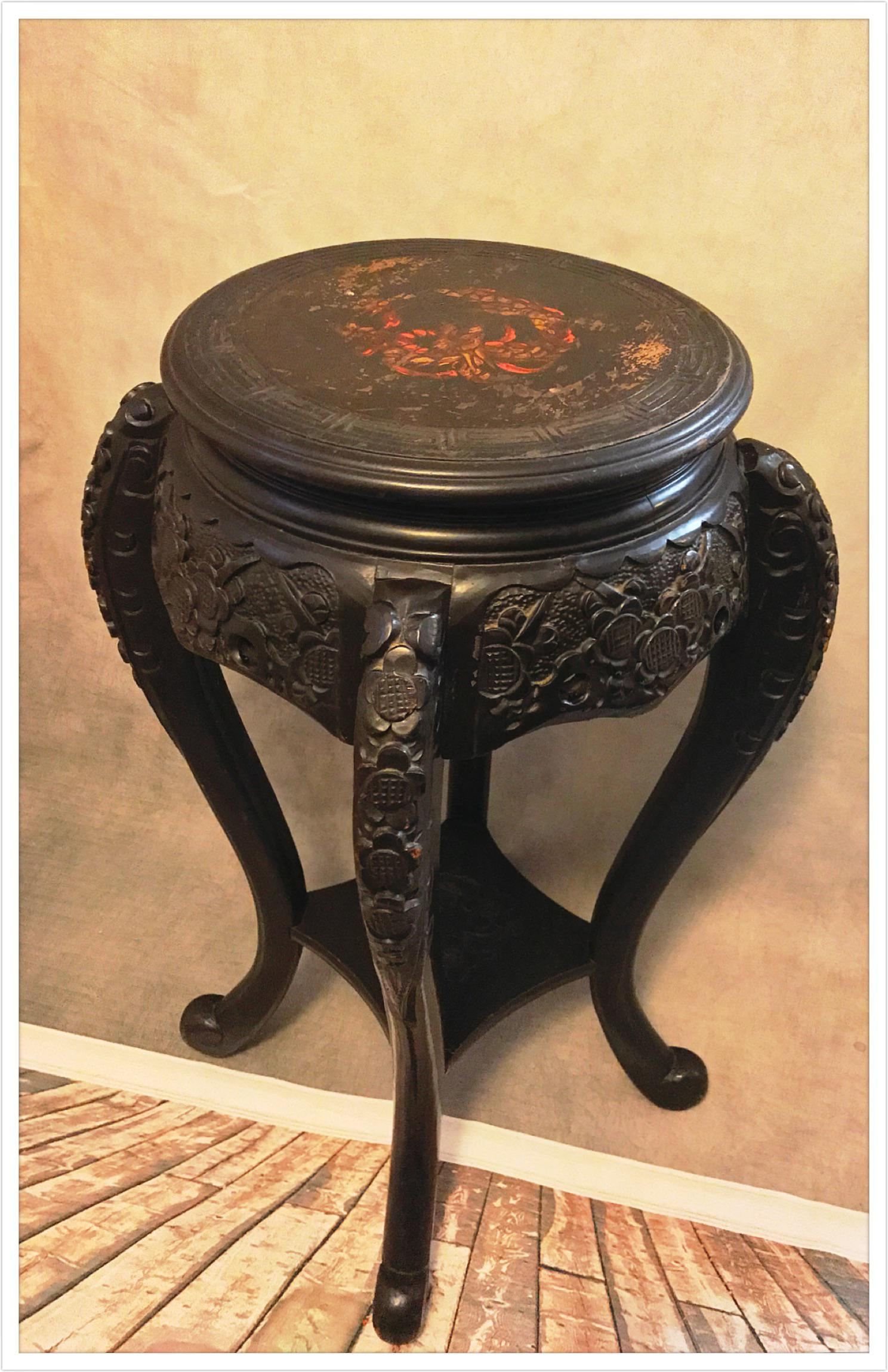 Vintage Asian Chinese Carved Plant Stand Table   Image 2 Of 11