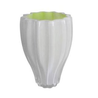 White And Neon Yellow Crystal Vase