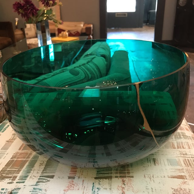 Emerald & Gold Glass Bowl - Image 3 of 5