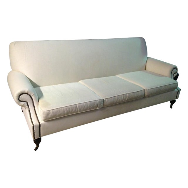 White linen sofa chairish for White linen sectional sofa