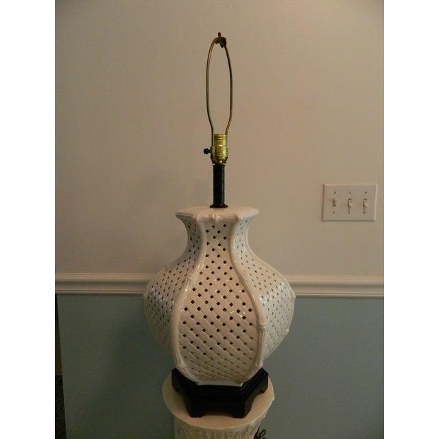 Vintage Nardini Blanc De Chine Pierced Lamp - Image 2 of 7