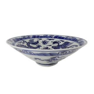 Ink Blue & White Painted Bowl