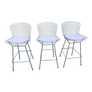 Knoll Bertoia Chrome Bar Stools - Set of 3