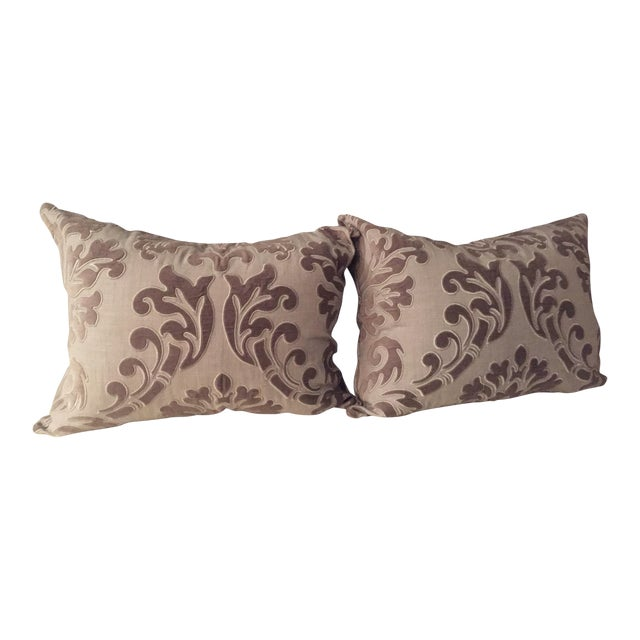 Linen and Velvet Meet Each Other Pillows - A Pair - Image 1 of 8