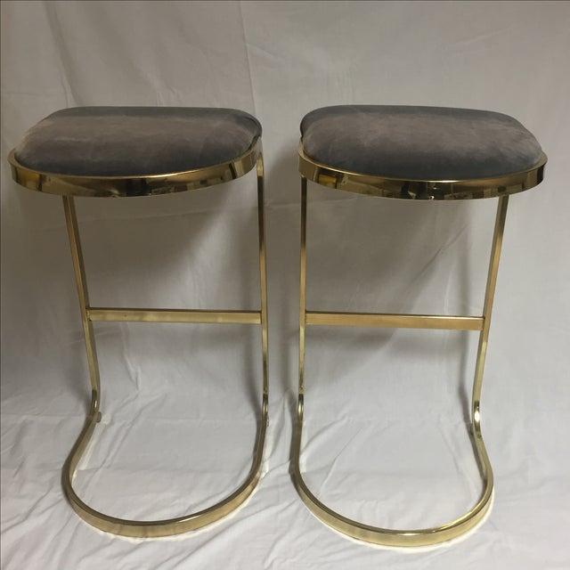 Vintage Brass & Gray Velvet Bar Stools - A Pair - Image 4 of 8