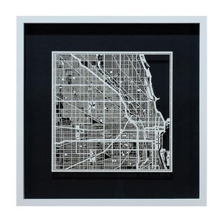 Sarreid Ltd. Chicago Framed & Matted Map
