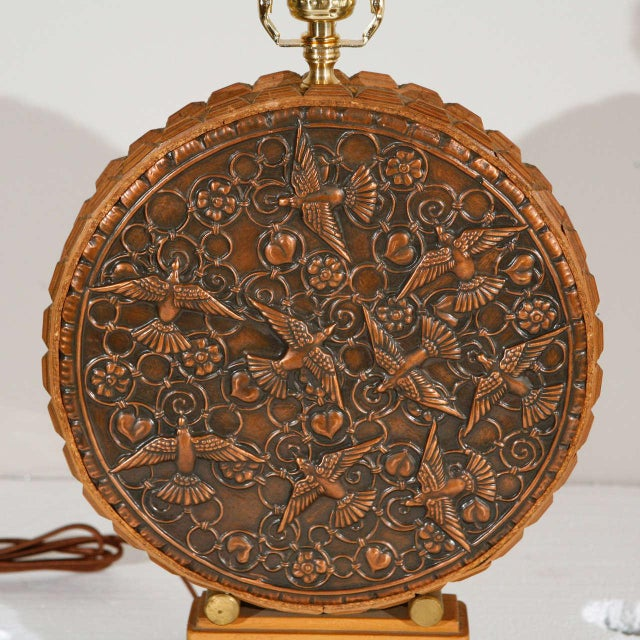 Repousse Table Lamp and Shade (Round Body) - Image 2 of 7