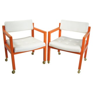 Orange Cube Chairs on Casters - A Pair