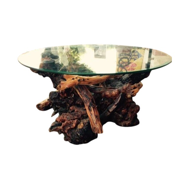 Drift Wood And Glass Coffee Table Chairish