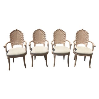 Venetian Grotto Scalloped Shell Back Chairs - S/4