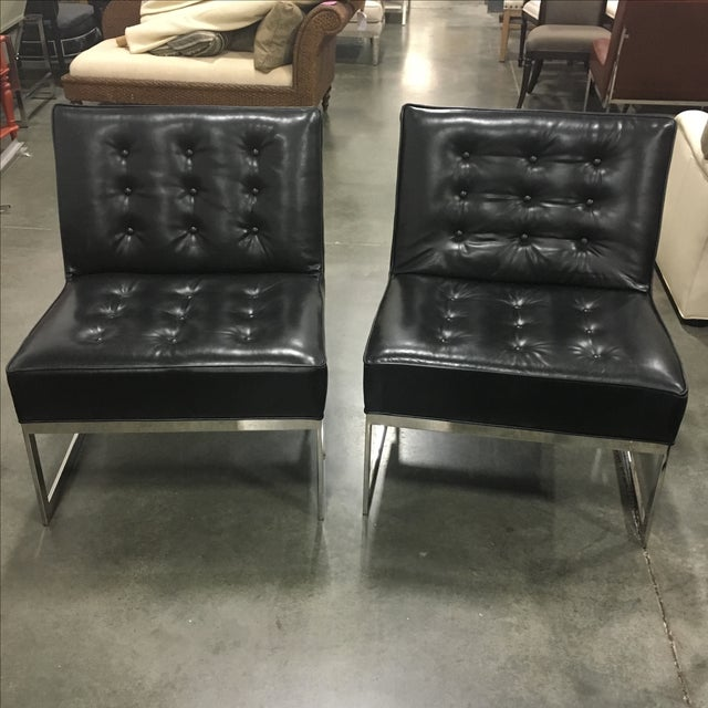 Black Leather & Chrome Chairs- A Pair - Image 2 of 8