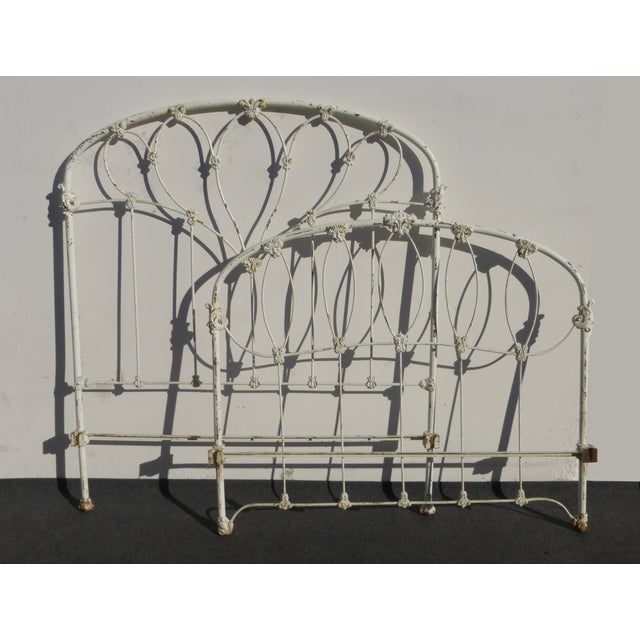 Antique French Country Full Iron Bed Frame Farmhouse Chic Headboard - Image 4 of 11