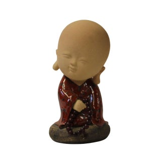 Chinese Oriental Ceramic Cartoon Style Kid Lohon Monk Figure