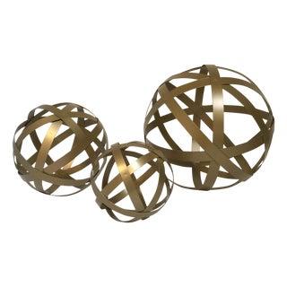 Gold Metal Orbs - Set of 3