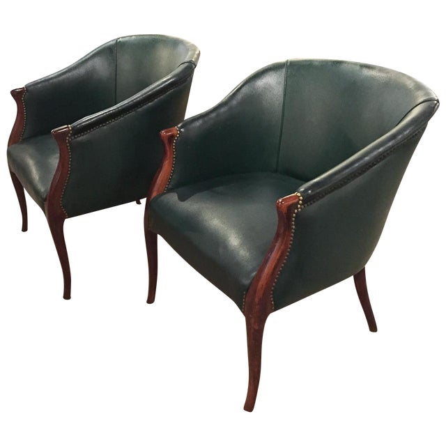 Green Barrel Chairs, Nail Head Trim - Pair - Image 1 of 9