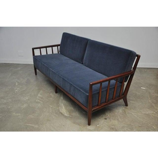 T.H. Robsjohn-Gibbings Open-Arm Sofa in Deep Blue Mohair - Image 2 of 6