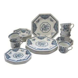 Vintage Meakin Ironstone Blue & White Setting for 6 - 27 Pc.