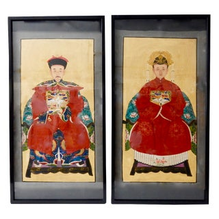 Chinese Ancestor Paintings - A Pair