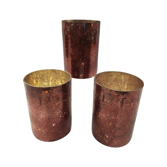 Image of Red Mercury Glass Hurricane Candles - Set of 3