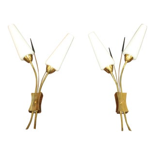 Big Pair Of Maison Lunel French Wall Sconces 1950's