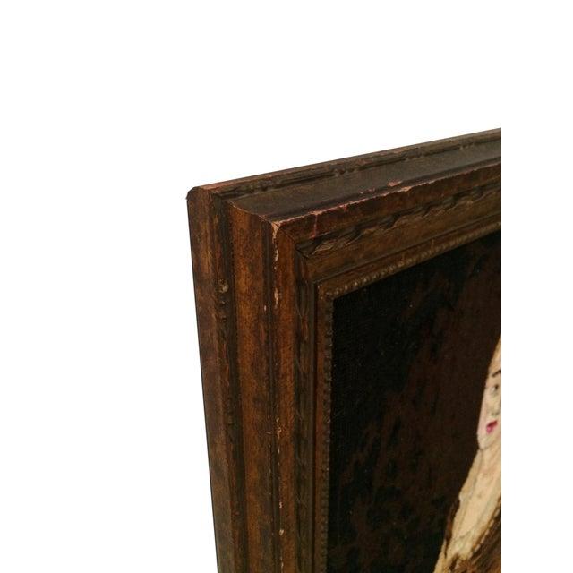 Vintage Needle Point Framed Art of Reading Lady - Image 3 of 5