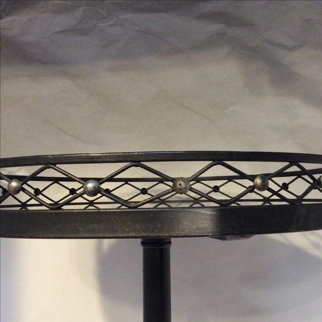 Black Metal Granite Top Side Table - Image 7 of 7