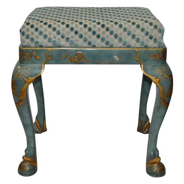 1960s Baker Furniture Upholstered Chinoiserie Seat - Image 1 of 8