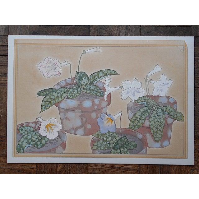 Vintage Japanese Botanical Woodblock Print - Image 2 of 3