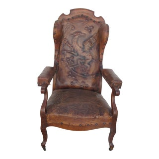 Tooled Dragon Leather Wing Chair