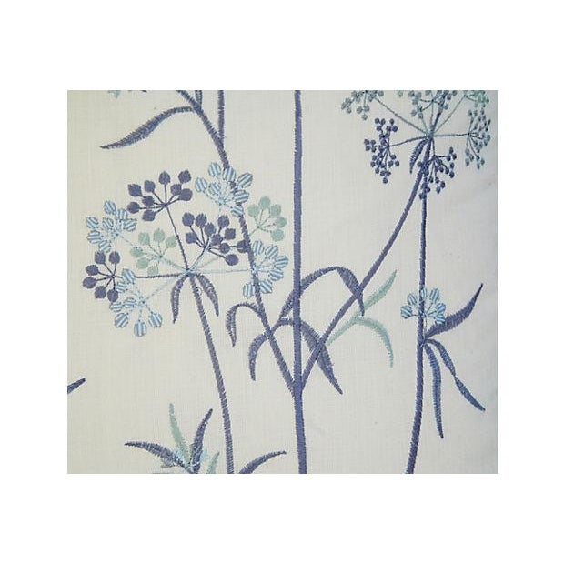 Designer Embroidered Blue Flower Pillows - A Pair - Image 5 of 8