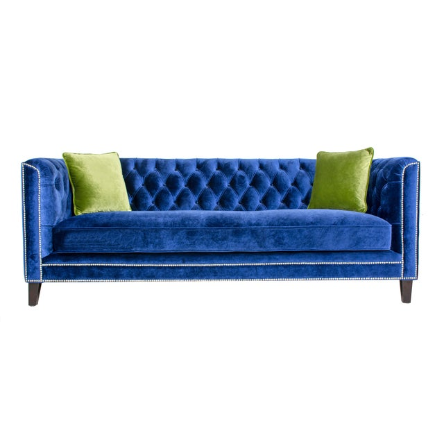 Pasargad Victoria Collecion Royal Blue Velvet Sofa - Image 1 of 7