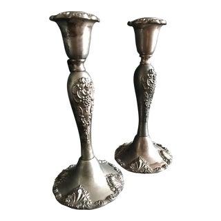 Vintage Godinger Silverplate Candlesticks - A Pair