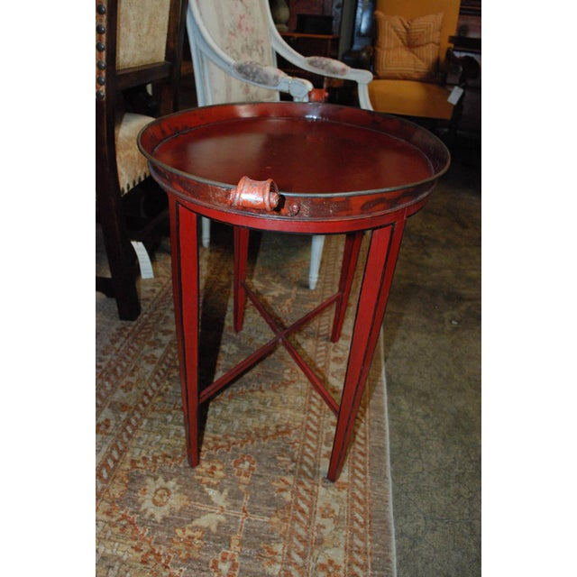 English Red Oval Table Tray - Image 5 of 8