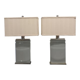 Modern Ceramic & Silver Leaf Table Lamps - A Pair