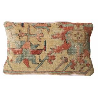 Antique Yellow Serapi Rug Fragment Pillow
