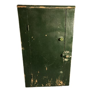 French Country Green Primitive Wood Cabinet