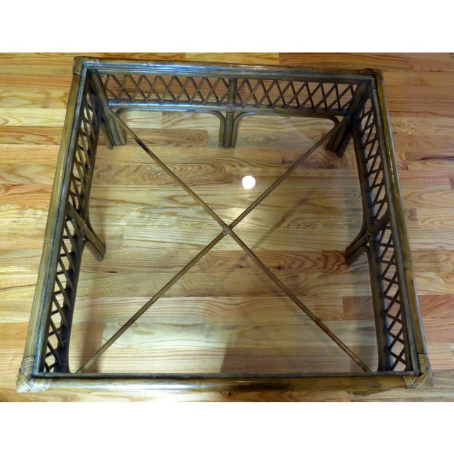 Image of Bamboo, Wood and Glass Coffee Table