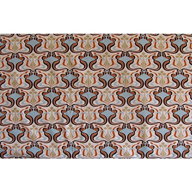 MCM Fabric in Turquoise, Orange, & Brown 4.9 Yards - Image 1 of 2