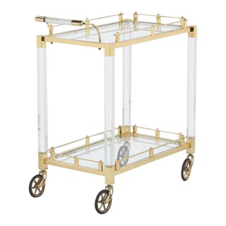 Spanish Vintage Lucite and Brass Bar Cart, 1970s