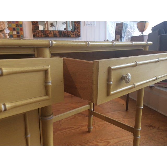 Thomasville Vintage Faux Bamboo Desk - Image 9 of 9