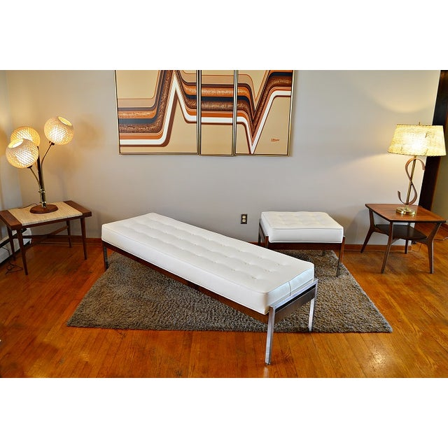 1970s Milo Baughman Style Tufted Chrome Bench - Image 7 of 7