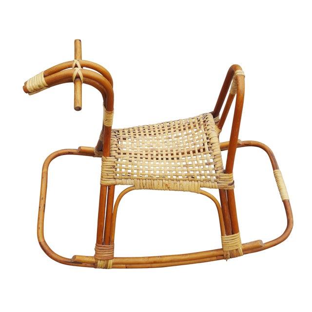 Sculptural Vintage Rattan Rocking Horse - Image 3 of 7