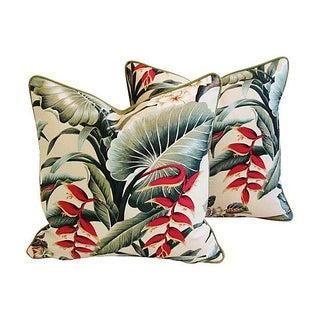 Lush Tropical Floral Barkcloth Pillows - Pair