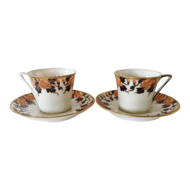 English Egg Shell Cups & Saucers - A Pair - Image 1 of 3