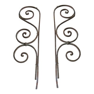 Antique Victorian Iron Brackets or Garden Ornaments- A Pair