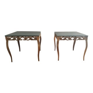 Transitional Antiqued Mirror Top Iron End Tables - A Pair