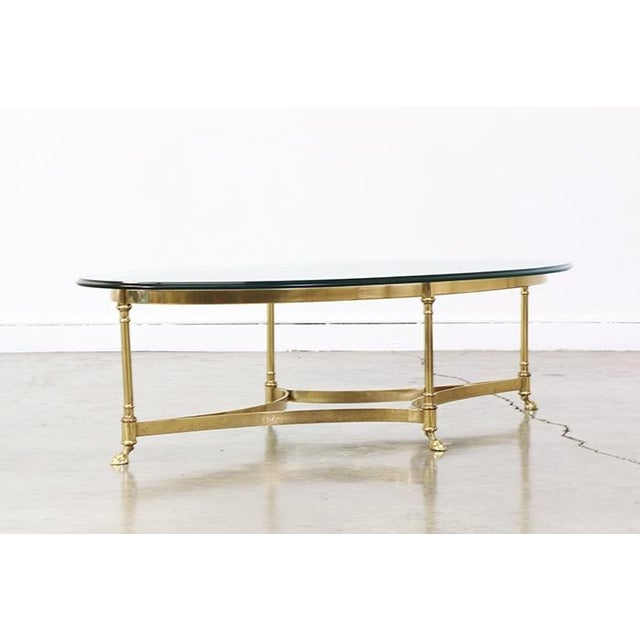Vintage Brass and Steel Hoofed Foot Coffee Table - Image 3 of 6