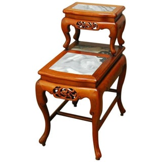 Chinese Hardwood Two-Tier Side Table With Marble