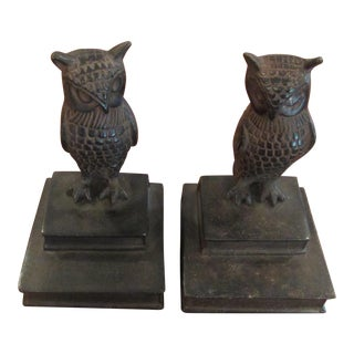 Vintage Bronze Owl Bookends - A Pair